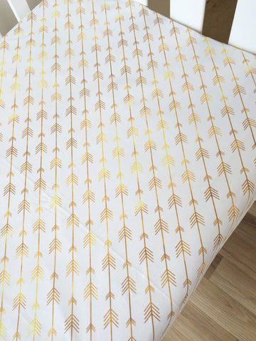 Gold Diagonal Arrow | Fitted Cot Sheet | Elske