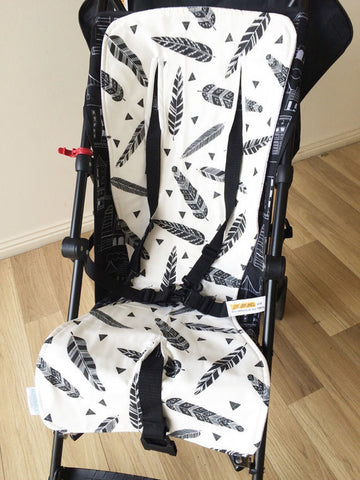 Black Feather / Grey Dot | Pram Liner | Elske