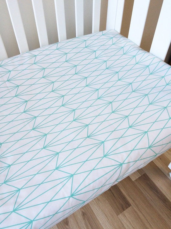 Mint Diamond Triangles | Fitted Cot Sheet | Elske - Dream Child Emporium  - 2