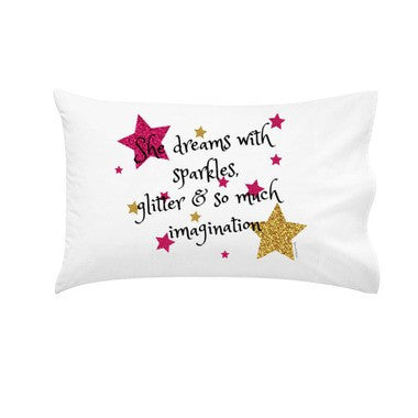 Glittery 'She Dreams With Sparkles' | Personalised Pillowcase