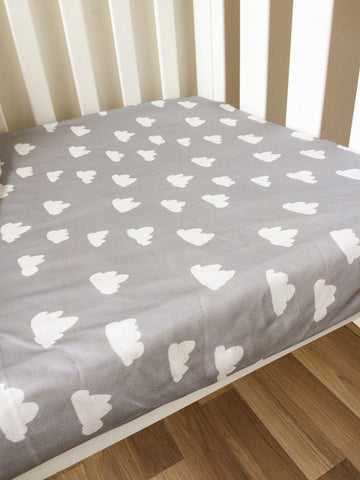 Grey Clouds | Fitted Cot Sheet | Elske