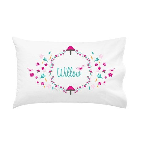 Pretty Pink Toadstool Personalised Pillow Case
