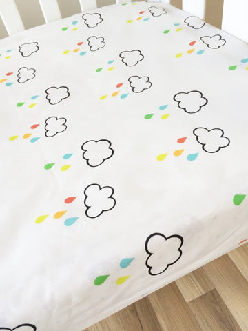Rain Clouds | Fitted Cot Sheet | Elske