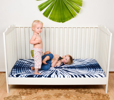 Indigo Shibori Fitted Cot Sheet | Wild + Bliss