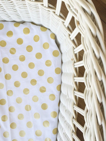Gold Polka Dot | Bassinet Sheet | Elske