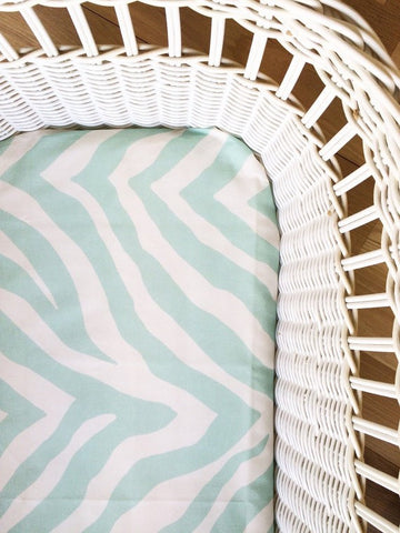 Mint Zebra | Bassinet Sheet | Elske