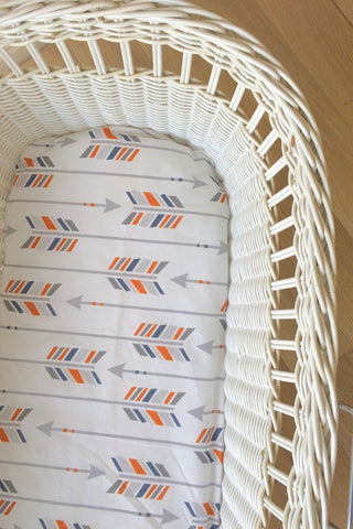 Orange & Grey Large Arrow | Bassinet Sheet | Elske
