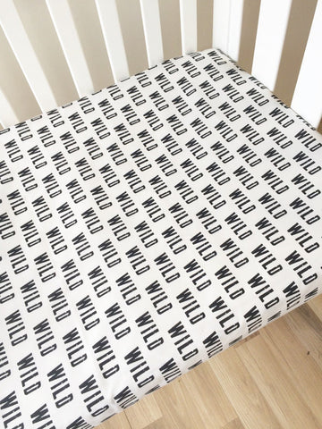 Black Wild Monochrome | Fitted Cot Sheet | Elske