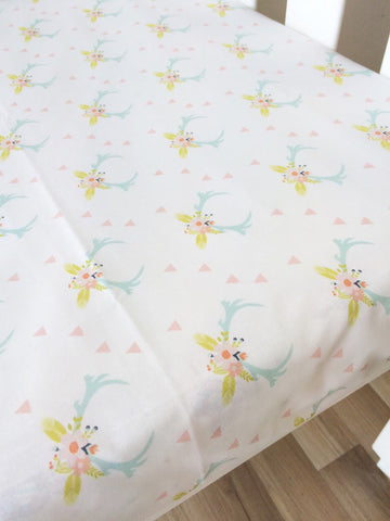 Floral Antler | Fitted Cot Sheet | Elske