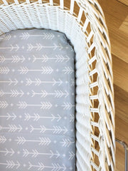 Grey Arrow and Cross | Bassinet Sheet | Elske - Dream Child Emporium  - 2