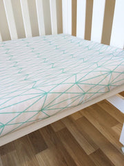 Mint Diamond Triangles | Fitted Cot Sheet | Elske - Dream Child Emporium  - 1