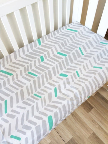 Grey & Mint Large Herringbone | Fitted Cot Sheet | Elske