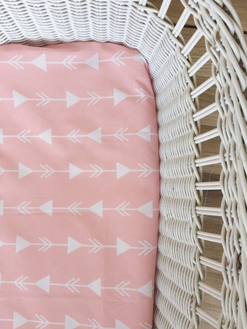 Pink Arrow Lines | Bassinet Sheet | Elske