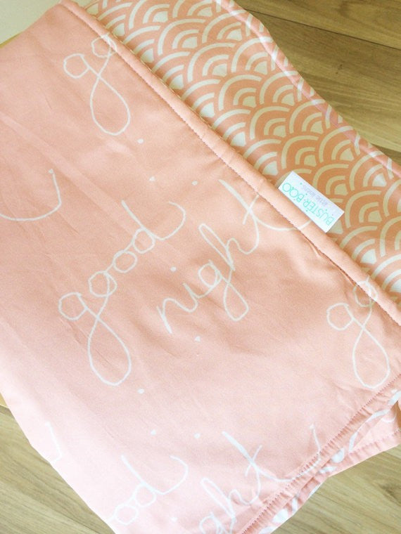 Good night / Peach fans | Cot Quilt Reversible | Elske - Dream Child Emporium  - 2