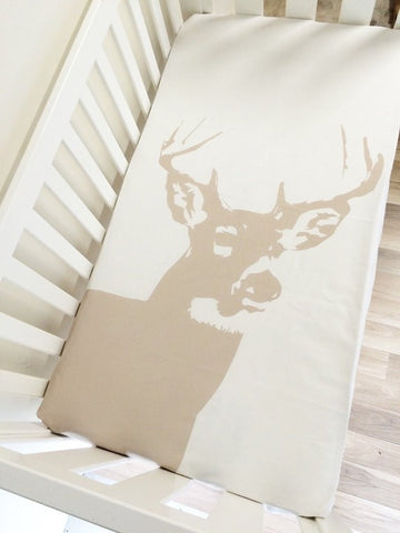 Black Stag Head | Fitted Cot Sheet | Elske