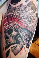A brilliant skull with Indian head dress by Pete Nelson