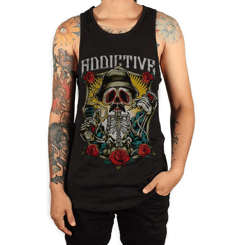 Drinking Skeleton Tank by Addictive Clothing - magnumtattoosupplies