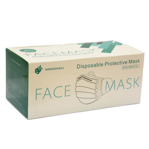 3ply Disposable Protective Face Covering - Mask (With Earloops) - magnumtattoosupplies