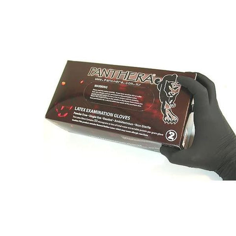 Panthera Gloves Black Powder Free Latex - magnumtattoosupplies