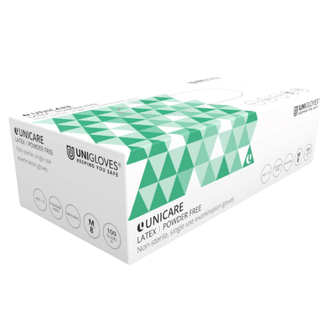 Uniglove Unicare White Latex Gloves (Powder Free)