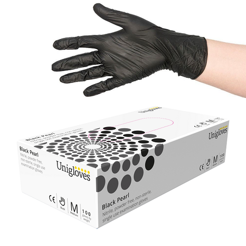 Uniglove Black Pearl Nitrile Gloves - magnumtattoosupplies