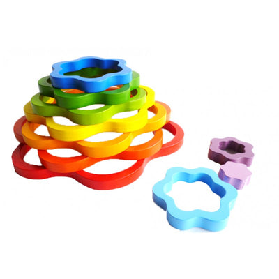 QToys - Wooden Rainbow Flowers, Kids Wooden Toy, Q Toys - The Raindrops and Lollipops Shop