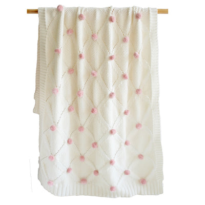 Alimrose Pom Pom Blanket - 100% Cotton Pink, Blanket, Alimrose Designs - The Raindrops and Lollipops Shop