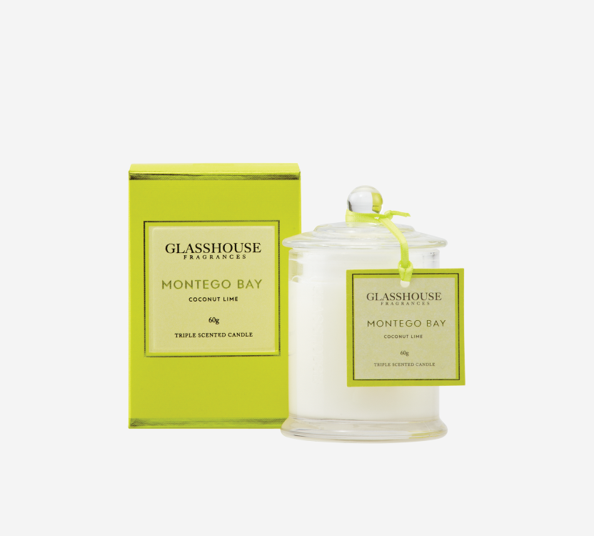 Glasshouse Bath Body Fragrance Glasshouse -Triple Scented Miniature Candle - Montego Bay: Coconut Lime 60g