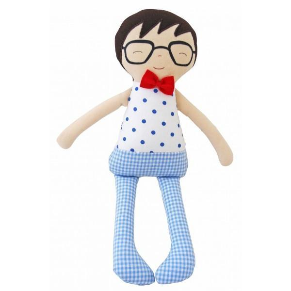 Alimrose Designs Doll Red Ted Doll Rattle in Blue or Red Stripe by Alimrose Designs.