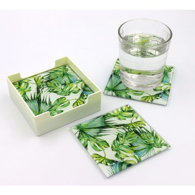 Glass Coaster - Palm Monsteria, Homeware, Rayell - The Raindrops and Lollipops Shop