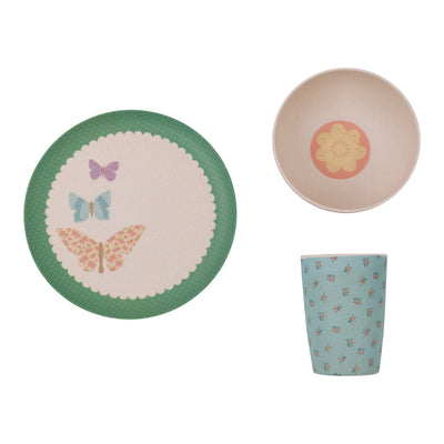 LoveMae Kids Dining LoveMae Bamboo 3pc Dinner Set - Pretty Butterflies