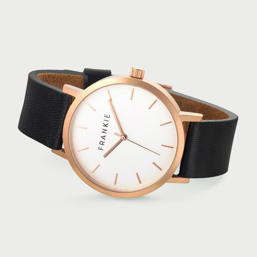 Frankie Watch Ladies Watch Frankie Watch - Brushed Rose / White face / Black Leather