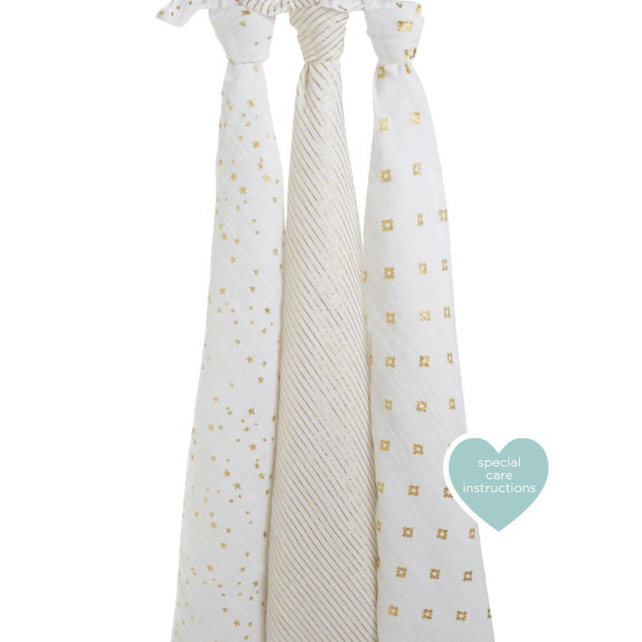 Aden and Anais swaddle 3-pack Aden + Anais Metallic Gold Classic Swaddle 3-Pack