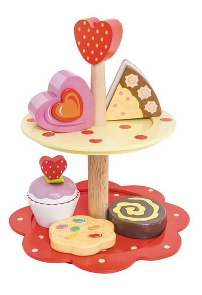 Le Toy Van Wooden Honeybake Two Tier Cake Stand Set