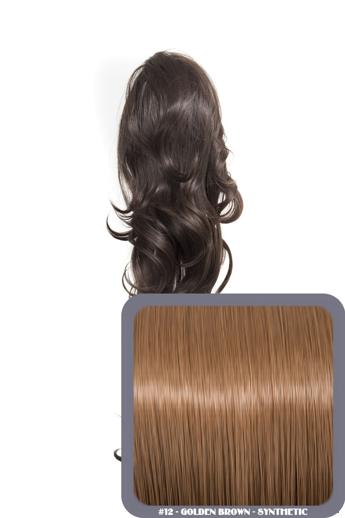 "Crystal 24"" Long Wavy Drawstring Clip-in Synthetic Ponytail in #12 - Golden Brown"