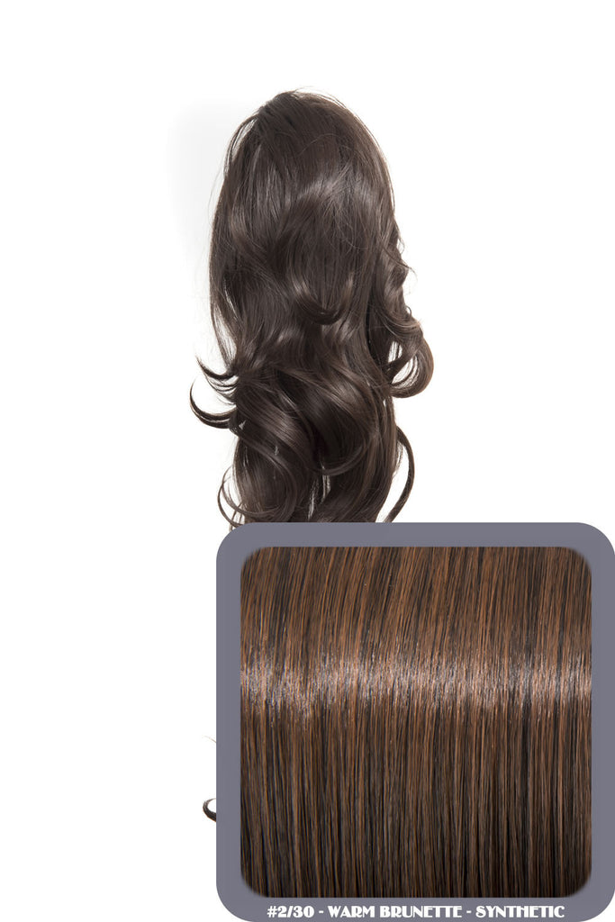 "Crystal 24"" Long Wavy Drawstring Clip-in Synthetic Ponytail in #2/30 Warm Brunette"