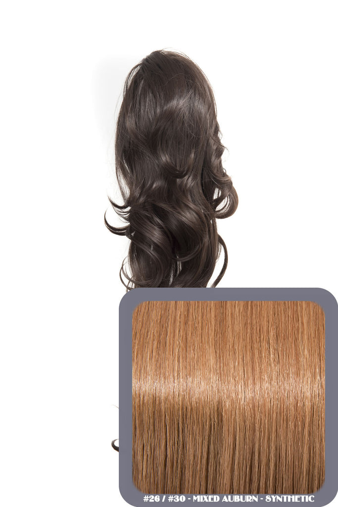 "Crystal 24"" Long Wavy Drawstring Clip-in Synthetic Ponytail in #26/30 - Mixed Auburn"