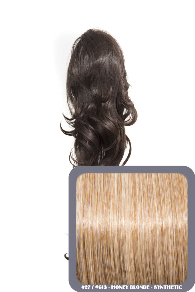 "Crystal 24"" Long Wavy Drawstring Clip-in Synthetic Ponytail in #27/613 Honey Blonde"