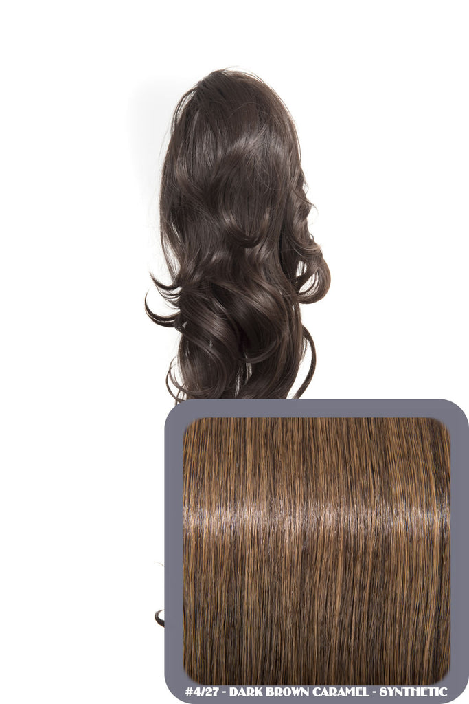 "Crystal 24"" Long Wavy Drawstring Clip-in Synthetic Ponytail in #4/27 Dark Brown & Caramel"