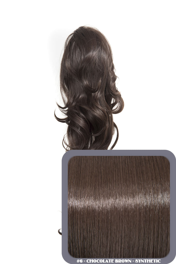 "Crystal 24"" Long Wavy Drawstring Clip-in Synthetic Ponytail in #6 Chocolate Brown"