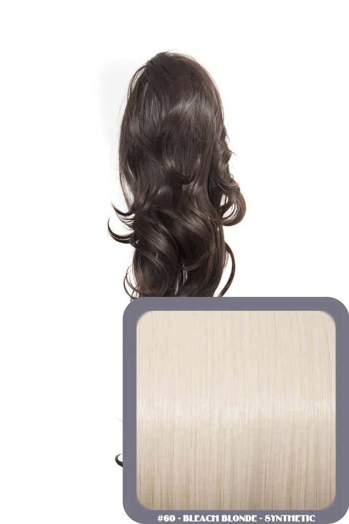 "Crystal 24"" Long Wavy Drawstring Clip-in Synthetic Ponytail in #60 Bleach Blonde"