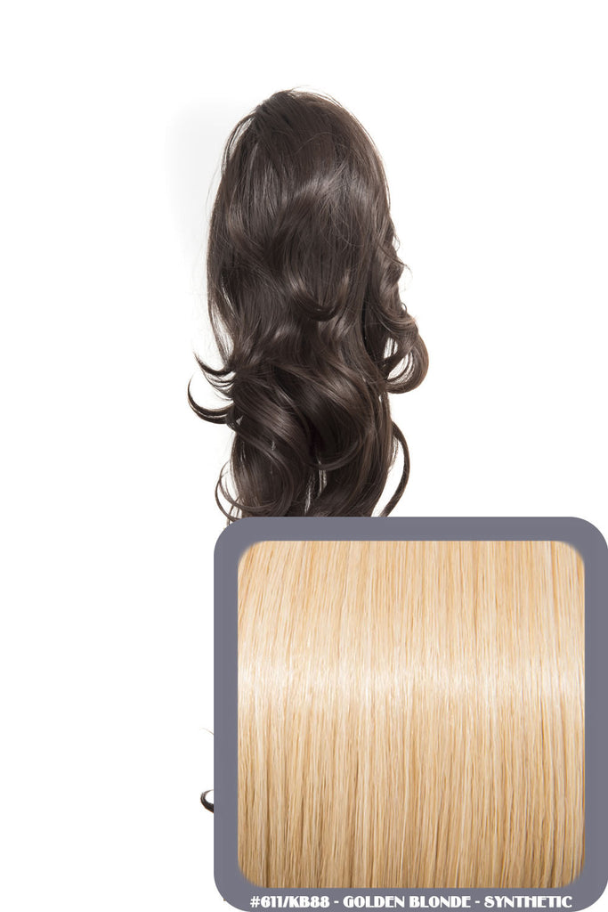 "Crystal 24"" Long Wavy Drawstring Clip-in Synthetic Ponytail in #611/KB88 Golden Blonde"