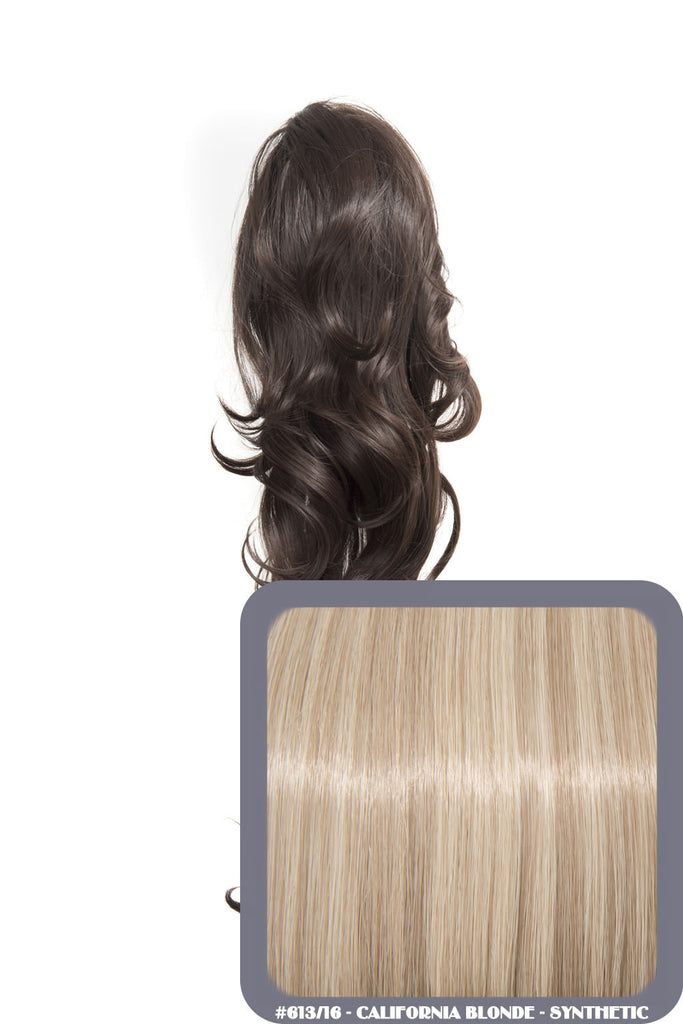 "Crystal 24"" Long Wavy Drawstring Clip-in Synthetic Ponytail in #613/16 California Blonde"