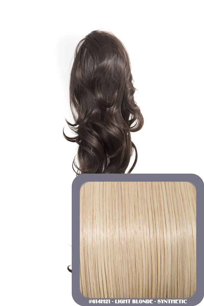 "Crystal 24"" Long Wavy Drawstring Clip-in Synthetic Ponytail in #614H21 Light Blonde"