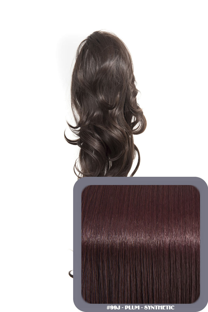 "Crystal 24"" Long Wavy Drawstring Clip-in Synthetic Ponytail in #99J Plum"