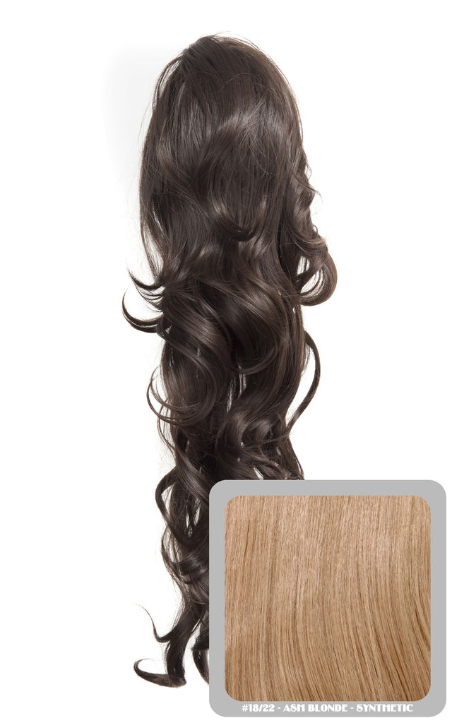 "Crystal 24"" Long Wavy Drawstring Clip-in Synthetic Ponytail in #18/22 Ash Blonde"