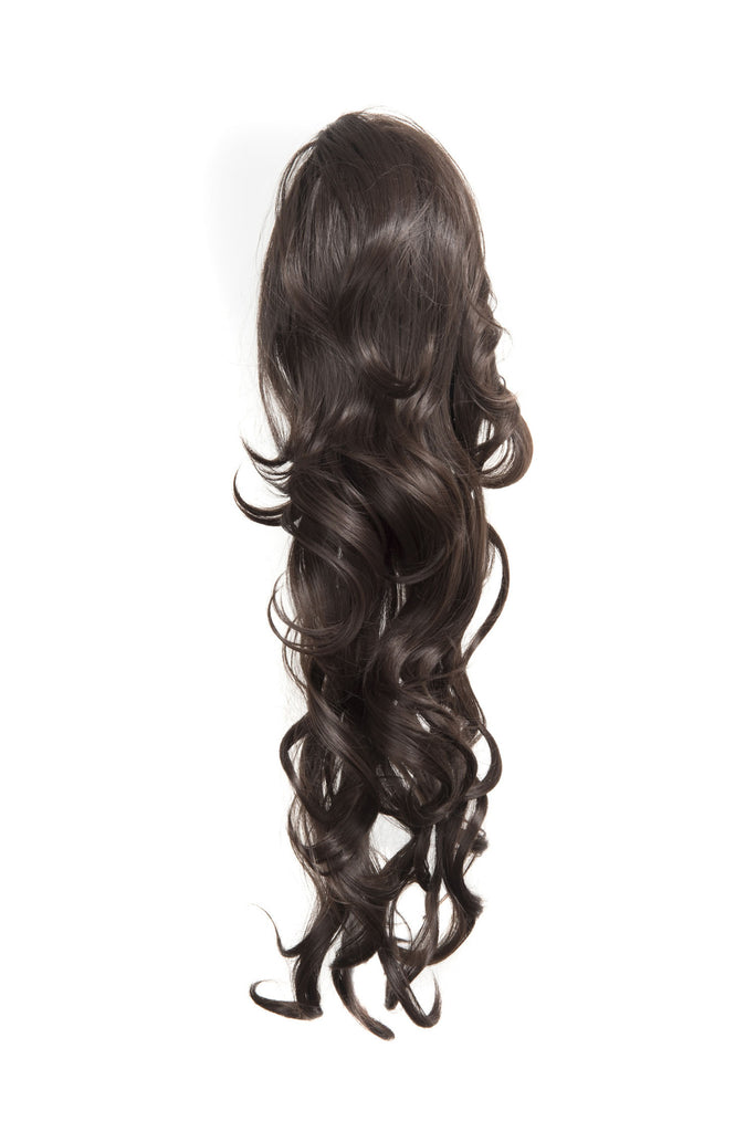 "Crystal 24"" Long Wavy Drawstring Clip-in Synthetic Ponytail in #2 Darkest Brown"