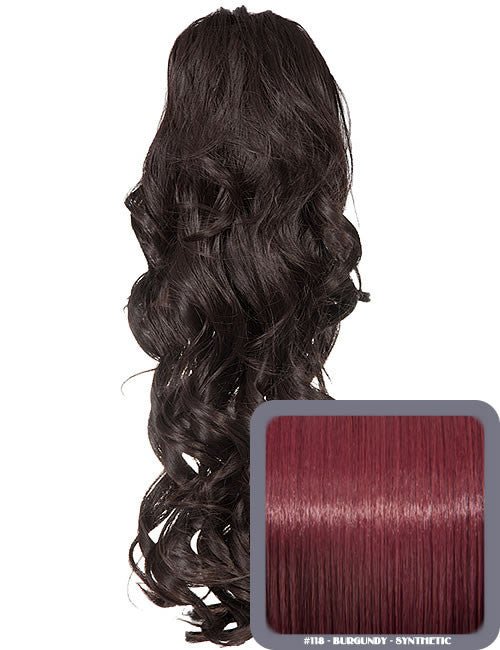 Glamour Long Ringlet Curls Synthetic Ponytail in #118 - Burgundy