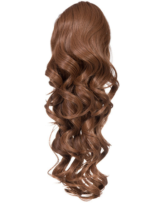 Glamour Long Ringlet Curls Synthetic Ponytail in #4/27 - Dark Brown & Caramel