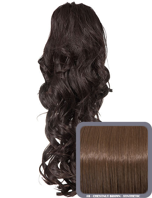 Glamour Long Ringlet Curls Synthetic Ponytail in #8 - Chestnut Brown
